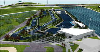 Plans would put a whitewater center downstream from the boathouses on the Oklahoma River. Drawing provided