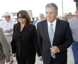 Jeff and Lori McMahan after sentencing hearing at the Federal Courthouse in Muskogee, Thursday, November 6, 2008. Photo by David McDaniel