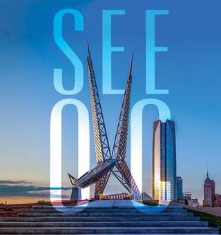 """The Skydance Bridge serves as the """"k"""" in """"OKC"""" in the new campaign unveiled Monday by the Oklahoma City Convention and Visitors Bureau. Photo provided"""