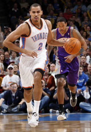 Oklahoma City's Thabo Sefolosha (2) leads a fast break during the NBA basketball game between the Oklahoma City Thunder and Phoenix Suns at Chesapeake Energy Arena in Oklahoma City, Saturday, Dec. 31, 2011. Photo by Nate Billings, The Oklahoman NATE BILLINGS