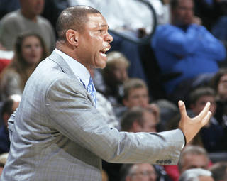 Boston coach Doc Rivers reacts to a call during his team's 105-87 win over the Oklahoma City Thunder at the Ford Center on Friday. PHOTO BY NATE BILLINGS, THE OKLAHOMAN