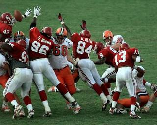 The Sooners' block of a Syracuse field-goal attempt preserved a 36-34 victory and inspired OU fans to storm the field in 1997. It was OU's third victory in 12 games under John Blake. - PHOTO BY STEVE SISNEY, THE OKLAH