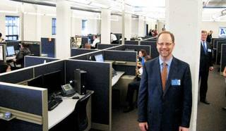 MOVE / RELOCATION: Advanced Academics president Jeffrey Elliott in the new offices, which take up three floors in the Candy Factory Building in Bricktown. Photo by Steve Lackmeyer, The Oklahoman ORG XMIT: 0911232206523755