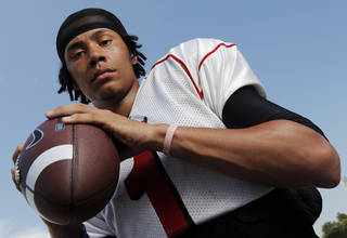 Del City High School football player Chazten Gonzales poses for a photo in Midwest City, Okla., Saturday, August 21, 2010. Photo by Nate Billings, The Oklahoman ORG XMIT: KOD