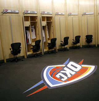 For many NBA players, including the Thunder, the locker room is a sanctuary. Photo by John Clanton, The Oklahoman Archives. Photo illustration.