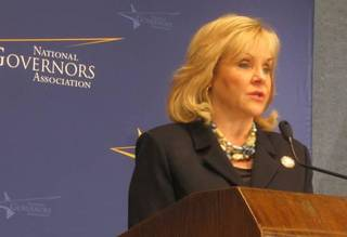 Oklahoma Gov. Mary Fallin speaks at the National Press Club in Washington about state initiatives on issues ranging from education to energy. Photo by Chris Casteel, The Oklahoman