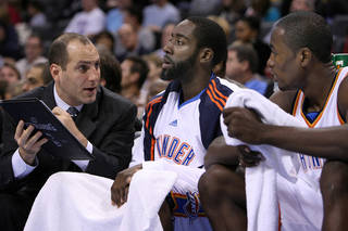 The Thunder has exercised contract options on James Harden, center, and Serge Ibaka, right. Photo by The Oklahoman Archive