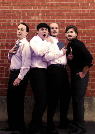 "From left, Ian Clinton plays Longaville, Jeff Burleson plays Dumaine, Sam Bearer plays King Ferdinand and Mitchell Reid plays Berowne in Reduxion Theatre's ""Love's Labour's Lost."" Photo provided."