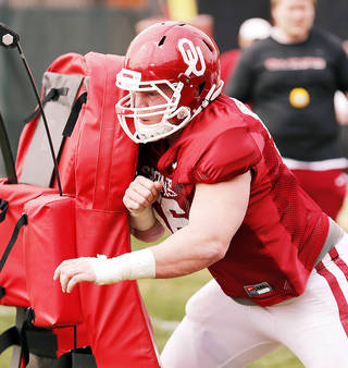 Oklahoma junior offensive lineman Ty Darlington is on the Rimington Trophy Watch List heading into the 2014 season. Photo by Steve Sisney, The Oklahoman