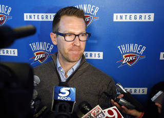 Oklahoma City Thunder general manager Sam Presti answers questions at a news conference in Oklahoma City, Friday, April 26, 2013. All-Star point guard Russell Westbrook will have surgery to repair cartilage in his right knee and be out indefinitely, dealing a harsh blow to the Thunder's championship chances. (AP Photo/Sue Ogrocki) ORG XMIT: OKSO104