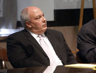 Former Oklahoma state Rep. Randy Terrill listens to defense witnesses Monday during his political bribery trial at the Oklahoma County courthouse. Terrill will testify Tuesday morning. PAUL HELLSTERN