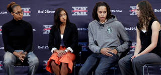 Baylor's Brittney Griner, second from right, answers questions during the Big 12 women's basketball media day Wednesday, Oct. 19, 2011, in Kansas City, Mo. Joining Griner on stage are, from left, Jalana Childs of Kansas State, Tiffany Bias of Oklahoma State, and Hallie Christofferson of Iowa State. (AP Photo/The Kansas City Star, Rich Sugg) ORG XMIT: MOKAS301