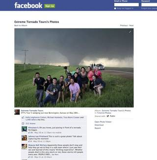 Screen capture from Extreme Tornado Tour's Facebook page.
