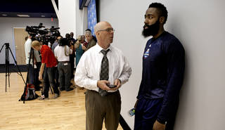 James Harden waits his turn behind Kevin Durant to speak with the media following practice at the Oklahoma City Thunder practice facility on Friday, April 27, 2012, in Oklahoma City, Okla. Photo by Steve Sisney, The Oklahoman