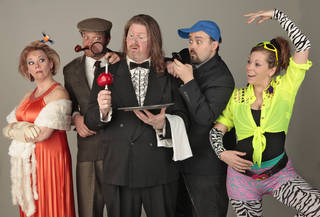 """Heading the cast of the Whodunit Dining Room production of """"Manor of Death"""" are, from left, Jean-Marie Otto (as Sybil Scribbles), Matthew Mattocks (Sherlock Spade), Ross Riley (Edsel), Brett Bower (Dustin Moldwood) and Jessica Dixon (Zumba). Photo By David McDaniel/The Oklahoman David McDaniel - The Oklahoman"""