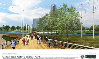 An example of what the MAPS 3 urban park could look like is shown in this drawing. No specific plans for the park have been made, but Oklahoma City officials and consultants hope city residents let them know what they want to see by filling out an online survey. pfrankel - Provided