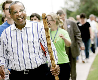 In this 2007 photo, the Rev. Robert Hayes Jr., bishop of the Oklahoma United Methodist Conference, leads a group on a Walk for Health and Wholeness on the Oklahoma City University campus during the conference's annual meeting. John Clanton - The Oklahoman