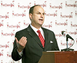 OU Athletic Director Joe Castiglione speaks during a press conference in Norman on Monday. PHOTO BY JOHN CLANTON, THE OKLAHOMAN