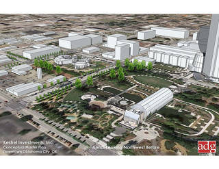 The current Stage Center property and how it relates to neighboring properties is shown in this rendering. ADG