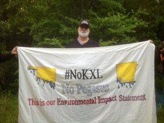 Alec Johnson, of Ames, Iowa, was one of four people arrested Monday in Atoka County after trying to block construction of the Keystone XL pipeline. Photo provided