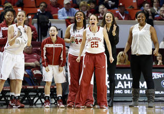 Oklahoma Sooners' Whitney Hand (25) and teammates cheer as the University of Oklahoma Sooners (OU) play the Kansas Jayhawks in NCAA, women's college basketball at The Lloyd Noble Center on Saturday, March 2, 2013 in Norman, Okla. Photo by Steve Sisney, The Oklahoman