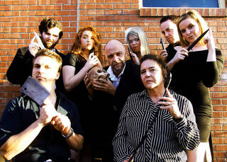"Reduxion Theatre Company's cast of its macabre season-opening run of ""Night of the Grand Guignol"" includes (second row, from left) Tyler Waits, Rachael Barry, David Fletcher- Hall, Katie Barnett, Ian Clinton, Susan Riley; (first row) Jeremy Lister and Sue Ellen Reiman. Photo provided."