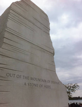 "Visitors can see two sayings on each side of the ""Stone of Hope"" that has Martin Luther King Jr.'s likeness carved out of it. PHOTO BY JOE HIGHT, THE OKLAHOMAN"