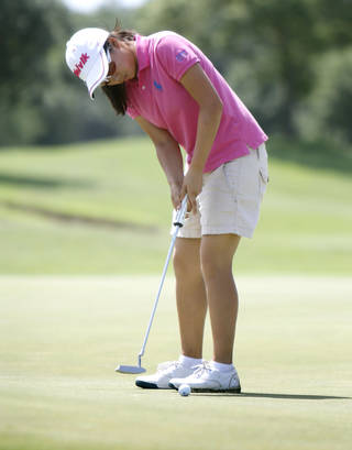 Mika Liu makes a putt during the match play semifinals of the WSGA championship at Gaillardia Country Club in Oklahoma City, OK, Thursday, June 5, 2014, Photo by Paul Hellstern, The Oklahoman