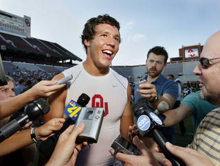 University of Oklahoma starting quarterback Sam Bradford speaks to the press before the Big Red Rally for the OU Sooner college football team at Gaylord Family-- Oklahoma Memorial Stadium in Norman, Oklahoma on Thursday, August, 23, 2007. BY STEVE SISNEY, THE OKLAHOMAN ORG XMIT: kod