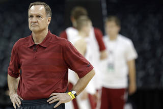 OU coach Lon Kruger watches his team practice Wednesday in Spokane, Wash. Photo by Sarah Phipps, The Oklahoman