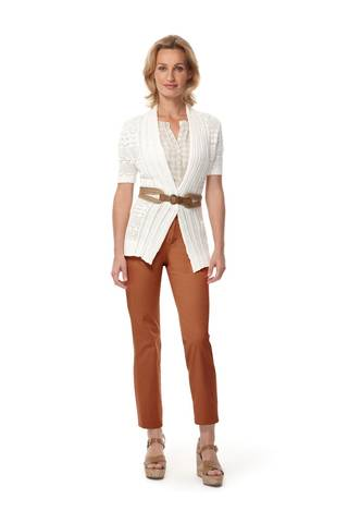 Start planning your vacation getaway with colorful orange chinos by Merona at Target, topped off with a creamy peasant T-shirt and airy creamy cardigan.