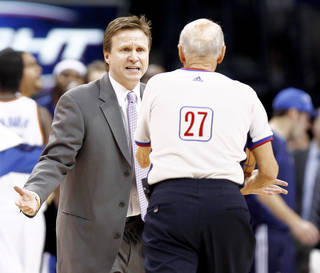 Thunder coach Scott Brooks argues with official Dick Bavetta during Oklahoma City's Feb. 4 game against the Denver Nuggets. PHOTO BY BRYAN TERRY, THE OKLAHOMAN