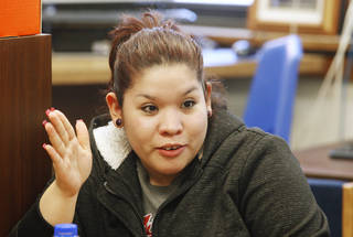 Arhely Trejo (CQ Arhely), 18, participates in a discussion during a Family Builders parenting class at Emerson High School in Oklahoma City Wednesday, Feb. 27, 2013. Photo by Paul B. Southerland, The Oklahoman