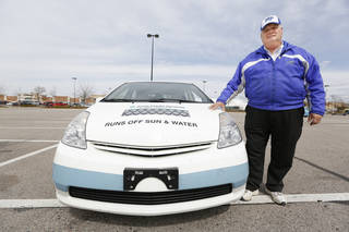 Middle Tennessee State University professor Cliff Ricketts and his team are driving from Georgia to California in a pair of cars powered by hydrogen rather than gasoline. He stopped in Midwest City on Tuesday in this modified 2005 Toyota Prius. Steve Gooch - The Oklahoman