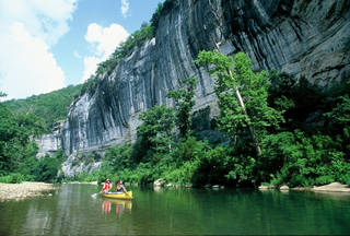 A couple paddles their canoe on the Buffalo National River in northwest Arkansas. (Photo provided)