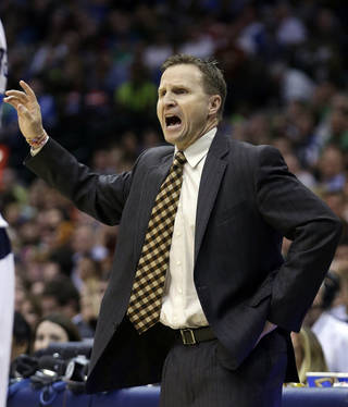 Oklahoma City Thunder head coach Scott Brooks yells from the sidelines during the second half of an NBA basketball game against the Dallas Mavericks Sunday, March 17, 2013, in Dallas. The Thunder won 107-101. (AP Photo/LM Otero) ORG XMIT: DNA115