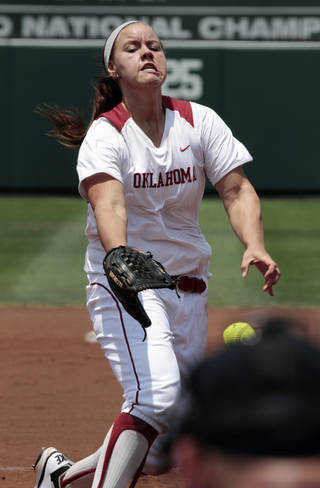 Keilani Ricketts pitches as the University of Oklahoma (OU) softball team plays Arizona in a super regional matchup at Marita Hines Field at OU on Friday, May 25, 2012, in Norman, Okla. Photo by Steve Sisney, The Oklahoman