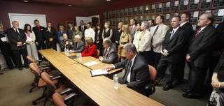 School superintendents from across Oklahoma gather Thursday, Oct. 4, 2012, for a news conference in Oklahoma City to express concern and frustration about the A-F school evaluation reform. By Paul Hellstern, The Oklahoman PAUL HELLSTERN - Oklahoman