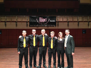 From left are OSU Trumpet Ensemble Orange members Cleon Chai, Nick Doutrich, Matt Register, Tyler Murray and Natalie Upton and director Ryan Gardner. PHOTO PROVIDED BY OKLAHOMA STATE UNIVERSITY