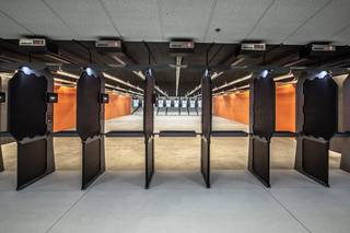 A rendering of the shooting lanes show plans for Wilshire Gun. All of the shooting lanes will feature ballistics-rated stalls and overhead baffles for additional safety. Rendering provided