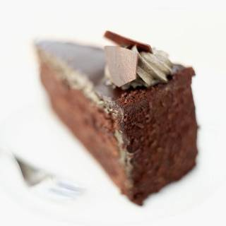 Close-up of a slice of chocolate cake