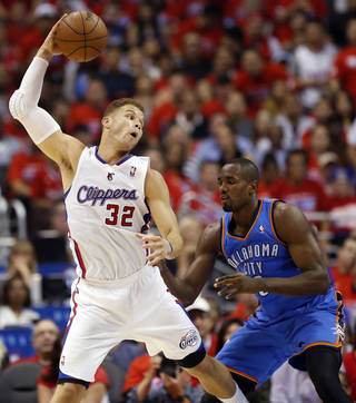 Los Angeles' Blake Griffin (32) looks to get around Oklahoma City's Serge Ibaka (9) during Game 3 of the Western Conference semifinals in the NBA playoffs between the Oklahoma City Thunder and the Los Angeles Clippers at the Staples Center in Los Angeles, Friday, May 9, 2014. Photo by Nate Billings, The Oklahoman