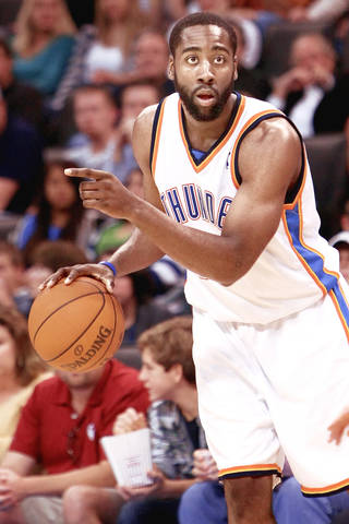 Thunder rookie James Harden has never considered himself a point guard, but is leading the league in assist-to-turnover ratio. PHOTO BY HUGH SCOTT, THE OKLAHOMAN