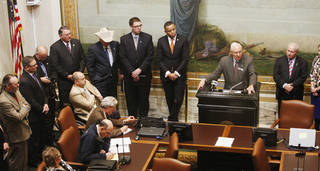 Terry Detrick, American Farmers and Ranchers state president, speaks about HB 1999 and SB 375 Wednesday. Photos by Paul B. Southerland, The Oklahoman
