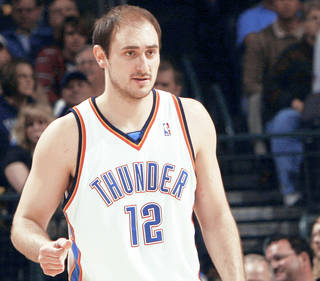 "Thunder center Nenad Krstic says he is his ""old self"" again. PHOTO BY JOHN CLANTON, THE OKLAHOMAN"