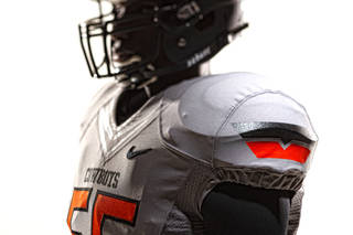 Oklahoma State's new football uniforms. Pictured here are the silver jersey and the black helmet. PHOTO PROVIDED