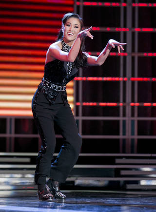 This photo courtesy of the Miss America Organization shows Miss Oklahoma Alicia Clifton's tap dance performance, which earned her top honors Tuesday at the Planet Hollywood Resort & Casino in Las Vegas. AP Photo B. Vartan Boyajian - ASSOCIATED PRESS