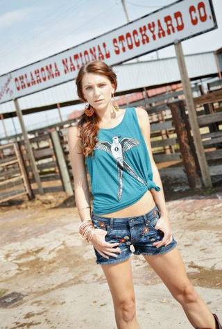 Scissortail is one of Bombs Away designer Dustin Oswald's most popular Oklahoma-themed designs. Cutoff shorts are by Artisan De Luxe and sold at Gil's Denim & Photo by Chris Landsberger, The Oklahoman. CHRIS LANDSBERGER