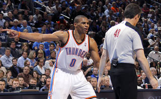 Oklahoma City Thunder point guard Russell Westbrook (0) argues a technical with the official during the NBA basketball game between the Oklahoma City Thunder and the Phoenix Suns at the Chesapeake Energy Arena on Wednesday, March 7, 2012 in Oklahoma City, Okla. Photo by Chris Landsberger, The Oklahoman
