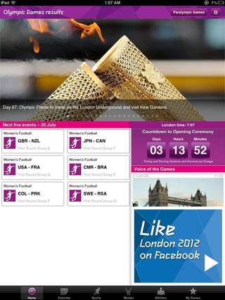 When you first open the London 2012 Olympics Official Results app, a home screen like this one depicted here in a screen shot shows you the day's events and other news.